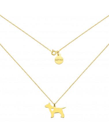 Złoty naszyjnik z psem rasy bulterier