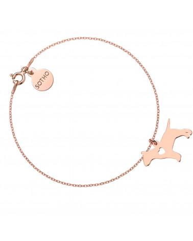 Bransoletka z różowego złota z psem rasy bulterier