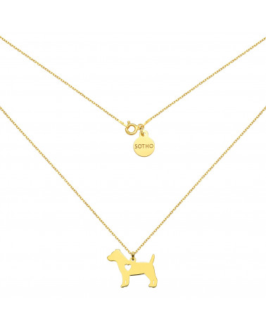 Złoty naszyjnik z psem rasy jack russell terrier