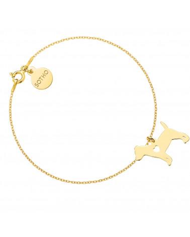 Złota bransoletka z psem rasy jack russell terrier