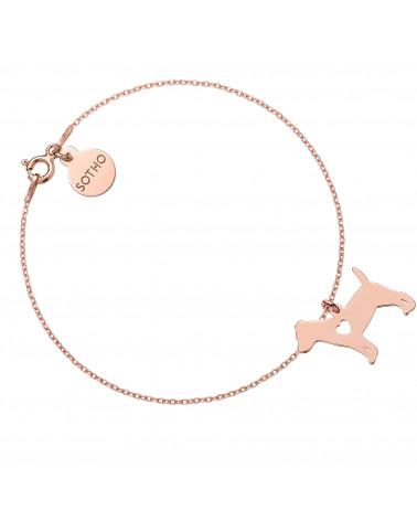 Bransoletka z różowego złota z psem rasy jack russell terrier