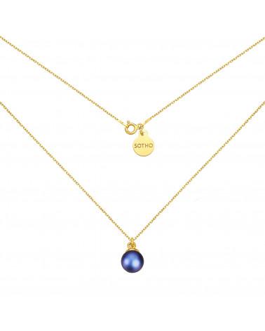 Złoty naszyjnik z granatową perłą SWAROVSKI® CRYSTAL