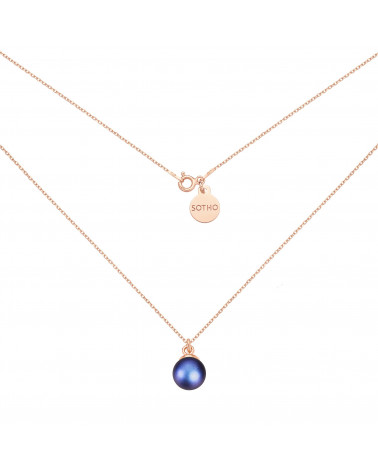Naszyjnik z różowego złota z granatową perłą SWAROVSKI® CRYSTAL