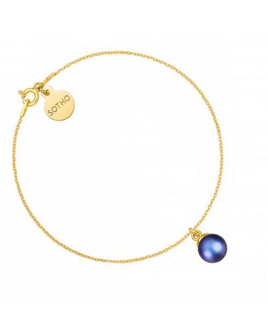 Złota bransoletka z granatową perłą SWAROVSKI® CRYSTAL