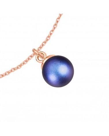 Naszyjnik z różowego złota z muszelką i perłą SWAROVSKI® CRYSTAL w kolorze Antique Brass