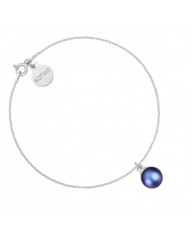 Srebrna bransoletka z granatową perłą SWAROVSKI® CRYSTAL