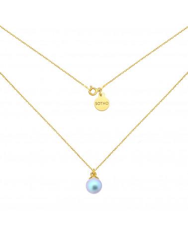Złoty naszyjnik z niebieską perłą SWAROVSKI® CRYSTAL