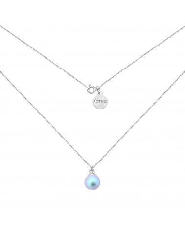 Srebrny naszyjnik z niebieską perłą SWAROVSKI® CRYSTAL
