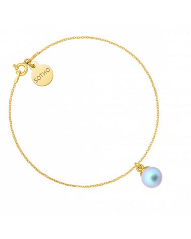 Złota bransoletka z niebieską perłą SWAROVSKI® CRYSTAL