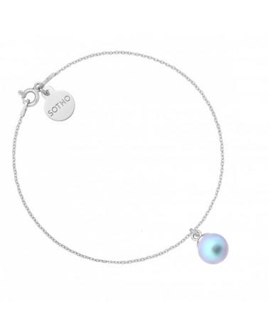 Srebrna bransoletka z niebieską perłą SWAROVSKI® CRYSTAL