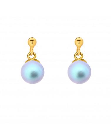 Złote kolczyki z niebieską perłą SWAROVSKI® CRYSTAL