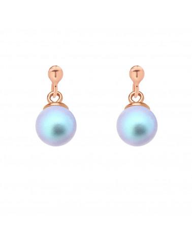 Kolczyki z różowego złota z niebieską perłą SWAROVSKI® CRYSTAL