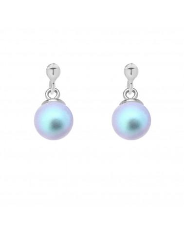 Srebrne kolczyki z niebieską perłą SWAROVSKI® CRYSTAL
