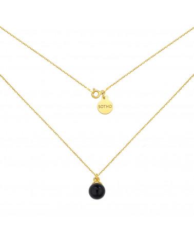 Złoty naszyjnik z czarną perłą SWAROVSKI® CRYSTAL