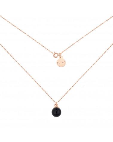 Naszyjnik z różowego złota z czarną perłą SWAROVSKI® CRYSTAL