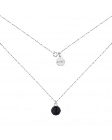 Srebrny naszyjnik z czarną perłą SWAROVSKI® CRYSTAL