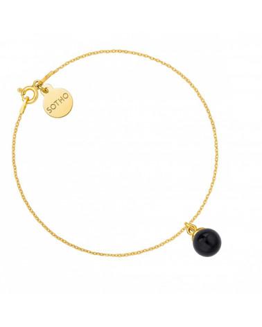 Złota bransoletka z czarną perłą SWAROVSKI® CRYSTAL