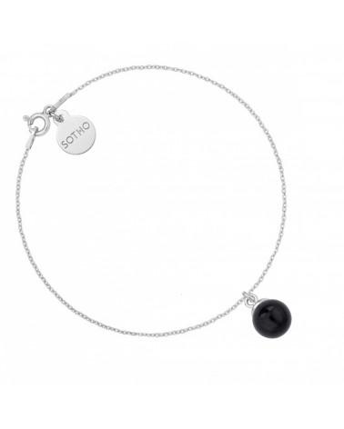 Srebrna bransoletka z czarną perłą SWAROVSKI® CRYSTAL