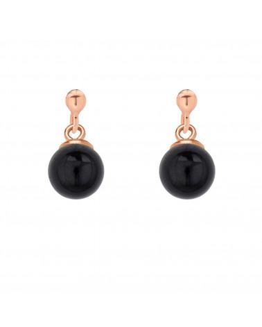 Kolczyki z różowego złota z czarną perłą SWAROVSKI® CRYSTAL