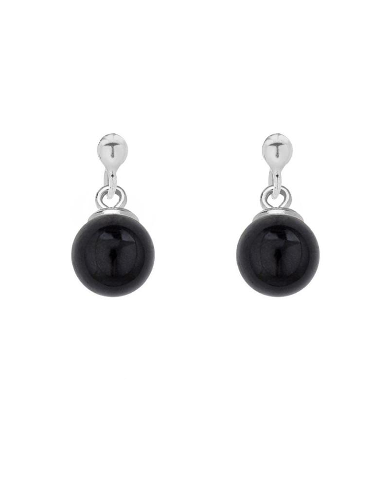Srebrne kolczyki z czarną perłą SWAROVSKI® CRYSTAL