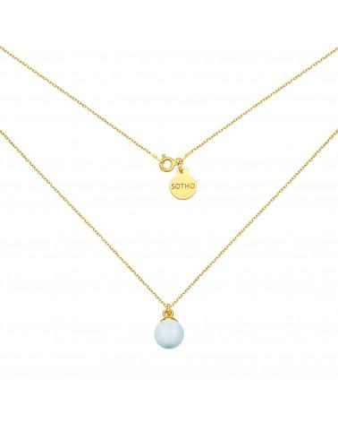 Złoty naszyjnik z niebieską pastelową perłą SWAROVSKI® CRYSTAL