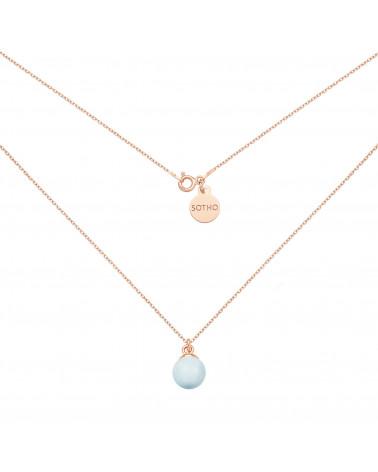 Naszyjnik z różowego złota z niebieską pastelową perłą SWAROVSKI® CRYSTAL