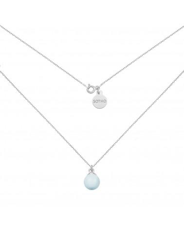 Srebrny naszyjnik z niebieską pastelową perłą SWAROVSKI® CRYSTAL