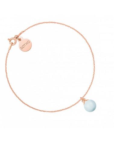 Bransoletka z różowego złota z niebieską pastelową perłą SWAROVSKI® CRYSTAL
