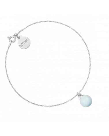 Srebrna bransoletka z niebieską pastelową perłą SWAROVSKI® CRYSTAL