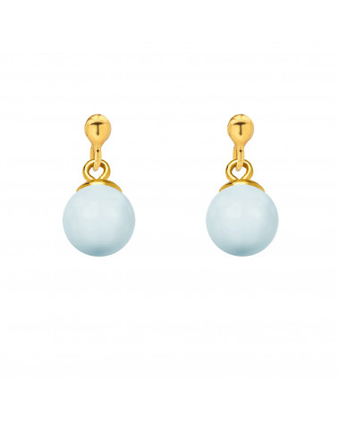 Złote kolczyki z niebieską pastelową perłą SWAROVSKI® CRYSTAL