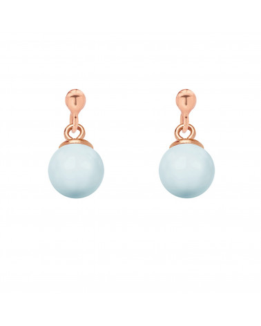 Kolczyki z różowego złota z niebieską pastelową perłą SWAROVSKI® CRYSTAL
