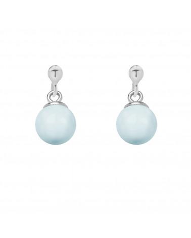 Srebrne kolczyki z niebieską pastelową perłą SWAROVSKI® CRYSTAL