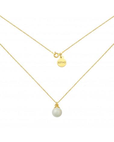 Złoty naszyjnik z muszelką i perłą SWAROVSKI® CRYSTAL w kolorze Mystic Black