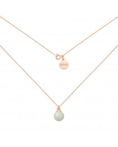 Naszyjnik z różowego złota z szarą perłą SWAROVSKI® CRYSTAL