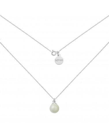 Srebrny naszyjnik z muszelką i perłą SWAROVSKI® CRYSTAL w kolorze Mystic Black