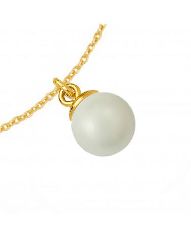 Złoty naszyjnik z muszelką i perłą SWAROVSKI® CRYSTAL w kolorze Pastel Blue