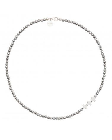 Srebrny naszyjnik z fasetowanego hematytu i krzyżyków