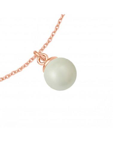 Naszyjnik z różowego złota z muszelką i perłą SWAROVSKI® CRYSTAL w kolorze Pastel Blue