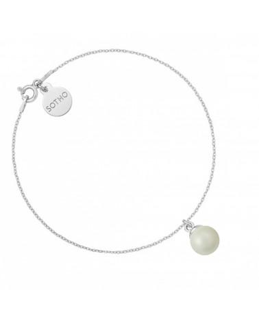 Srebrna bransoletka z szarą perłą SWAROVSKI® CRYSTAL