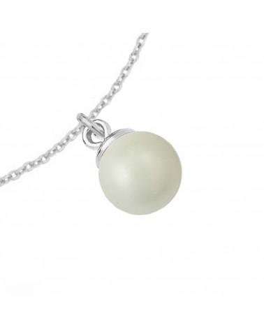 Srebrny naszyjnik z muszelką i perłą SWAROVSKI® CRYSTAL w kolorze Pastel Blue