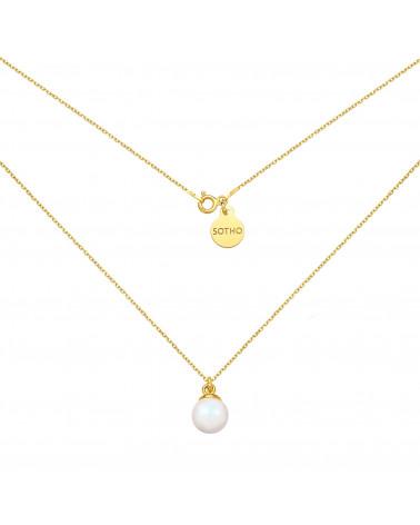 Złoty naszyjnik z opalizującą perłą SWAROVSKI® CRYSTAL