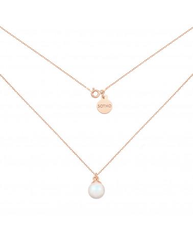Naszyjnik z różowego złota z opalizującą perłą SWAROVSKI® CRYSTAL