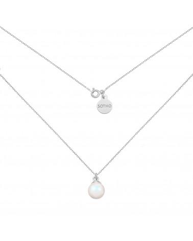 Srebrny naszyjnik z opalizującą perłą SWAROVSKI® CRYSTAL