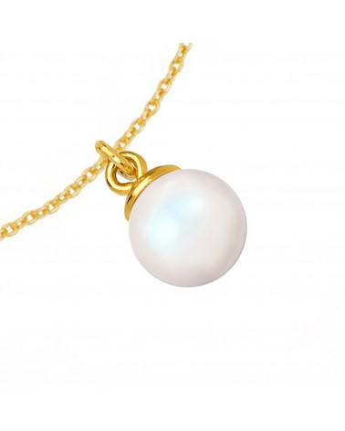 Srebrny naszyjnik z muszelką i perłą SWAROVSKI® CRYSTAL w kolorze Pastel Yellow