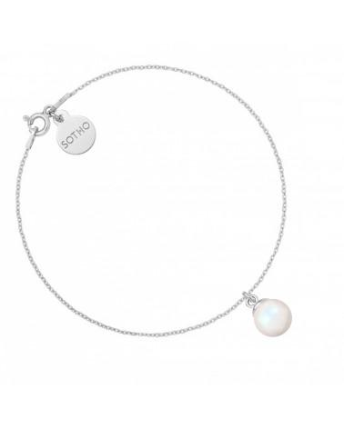 Złoty naszyjnik z muszelką i perłą SWAROVSKI® CRYSTAL w kolorze Peach
