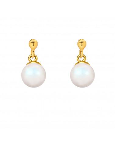 Złote kolczyki z opalizującą perłą SWAROVSKI® CRYSTAL