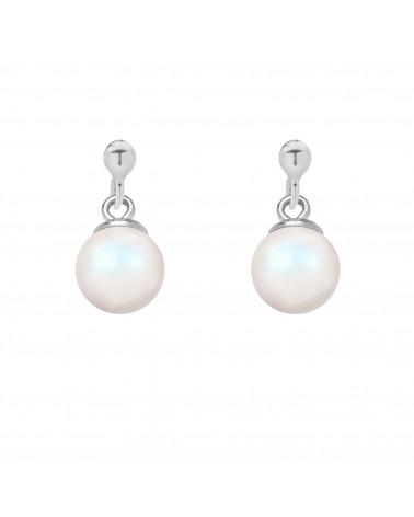 Srebrny naszyjnik z muszelką i perłą SWAROVSKI® CRYSTAL w kolorze Peach