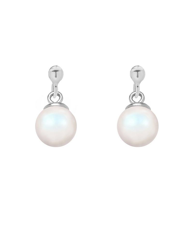Srebrne kolczyki z opalizującą perłą SWAROVSKI® CRYSTAL