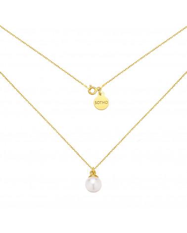 Złoty naszyjnik z muszelką i perłą SWAROVSKI® CRYSTAL w kolorze Pearlescent