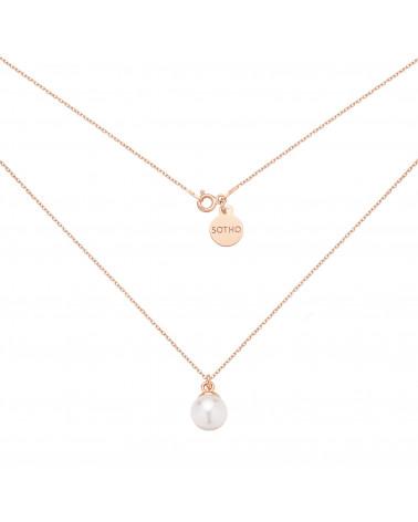 Naszyjnik z różowego złota z białą perłą SWAROVSKI® CRYSTAL